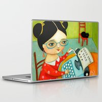 writer Laptop & iPad Skins featuring The writer of stories by tascha