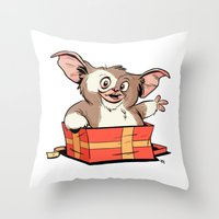 gizmo Throw Pillows featuring Gizmo Gift by The Drawbridge