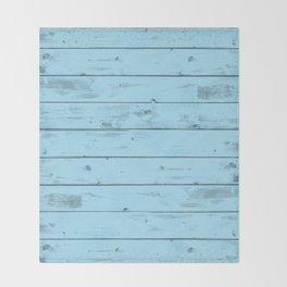 Blue Wood Texture Throw Blanket