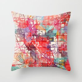 Skokie map Illinois IL Throw Pillow