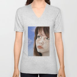 Red Hair and Freckle Faced Beauty Unisex V-Neck
