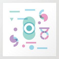 Pastel geo pattern Art Print