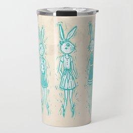 Bunny Girls - cute bunnies woodcut style texture clean creme natural rabbit ears hare cute  Travel Mug