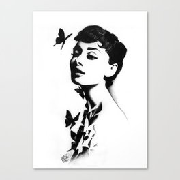 AUDREY WITH BUTTERFLIES.  Canvas Print