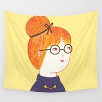 redhead Wall Tapestries featuring Redhead by Ana Albero