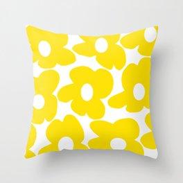 Large Yellow Retro Flowers on White Background #decor #society6 #buyart Throw Pillow