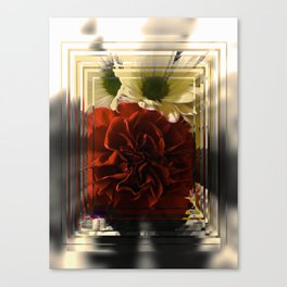 Carnation And Daisies In Glass Display Canvas Print