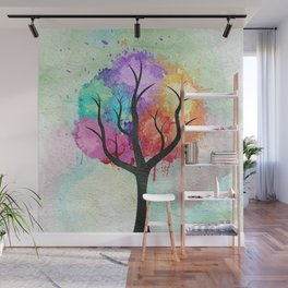 Awesome abstract pastel colors oil paint tree of Life Wall Mural
