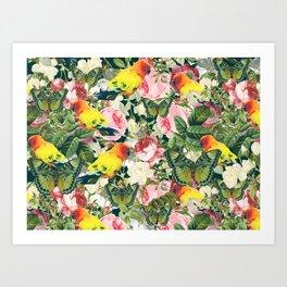 Parrots in rose garden Art Print