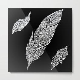White feathers on black Metal Print