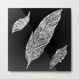 White feathers on black Metal Print