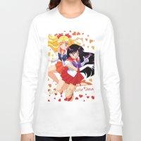 sailor venus Long Sleeve T-shirts featuring Sailor Mars and Sailor Venus by Neo Crystal Tokyo