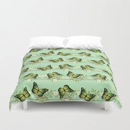 Green butterflies pattern Duvet Cover