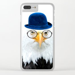 Funny Eagle Portrait Clear iPhone Case