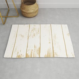 Rustic wooden texture. White and gold antique wood. Rug