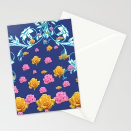 YELLOW  & PINK ROSES BLUE MODERN  ABSTRACT Stationery Cards