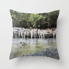 zebras in a line, Serengeti National Park, Tanzania Throw Pillow