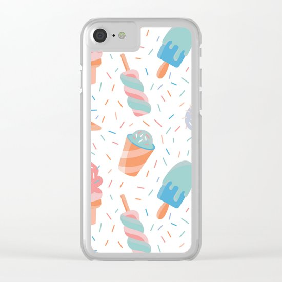 pastel ice cream pattern Clear iPhone Case