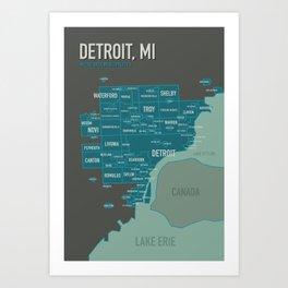 City map of Detroit Art Print