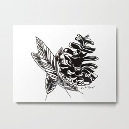 Pinecone & Feathers Metal Print