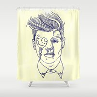 johnny depp Shower Curtains featuring Johnny by Swimming Bell