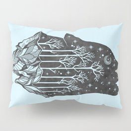 Adventure Wolf - Nature Mountains Wolves Howling Design Black on Turquoise Blue Pillow Sham
