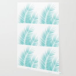 Soft Turquoise Palm Leaves Dream - Cali Summer Vibes #1 #tropical #decor #art #society6 Wallpaper
