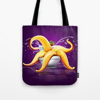 toilet Tote Bags featuring OCTOPUS / TOILET by shttefan
