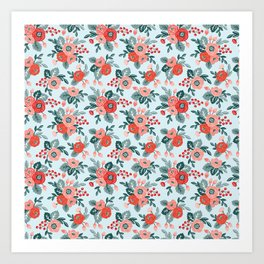 Floral seamless pattern on a blue background Art Print