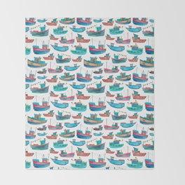 Fishing Boats Throw Blanket