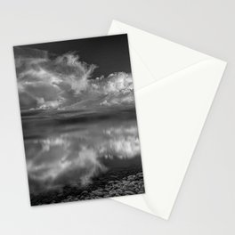 Old Man and the Sea black and white photograph with clouds reflecting in the water Stationery Cards