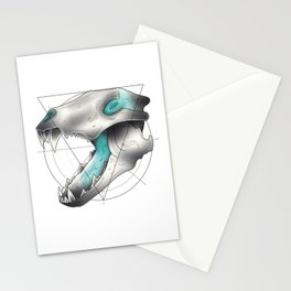 Blue Flame Wolf Skull Stationery Cards