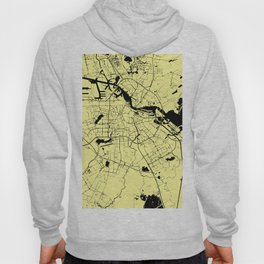 Amsterdam Yellow on Black Street Map Hoody