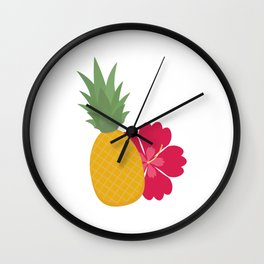 Pineapple with flower Wall Clock
