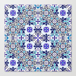 Turquoise Moroccan tile seamless pattern Canvas Print
