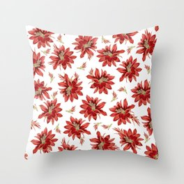 Red Christmas Cactus Flowers Floral Pattern Throw Pillow