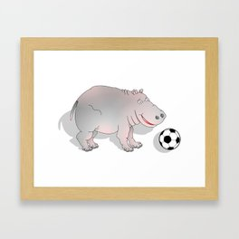 Hippo playing Football Framed Art Print