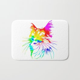 tie dye cat splash art Bath Mat