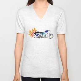 Motorcycle with Flaming Exhaust Unisex V-Neck