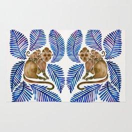 Monkey Cuddles – Navy Leaves Rug