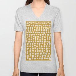 Dots / Mustard Unisex V-Neck