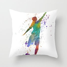 Woman soccer player 09 in watercolor Throw Pillow