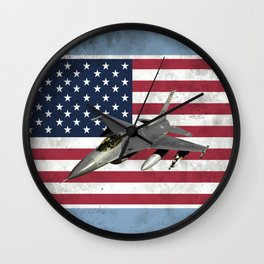 F16 Fighter Jet American Flag Wall Clock
