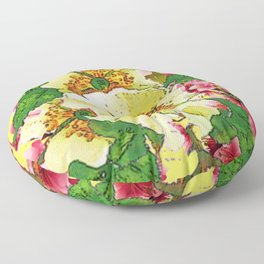 CONTEMPORARY PINK & CREAMY WHITE SPRING FLOWERS Floor Pillow