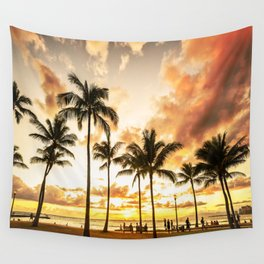 Typical Picturesque Waikiki Beach Sunset Wall Tapestry