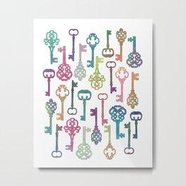 Rainbow Keys on White Metal Print
