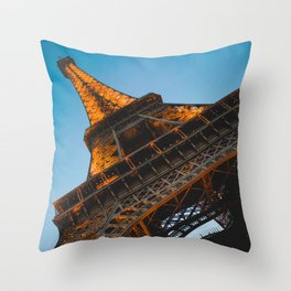 Eiffel Tower Lit Up | Paris France City Night Urban Photography Throw Pillow