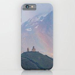 Church blessed by Rainbow | Gergeti Trinity Church in Kazbegi | Georgia Travel photography iPhone Case