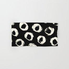 Polka Dots Cream on Black 2 Hand & Bath Towel