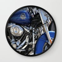 harley Wall Clocks featuring Harley by Veronica Ventress